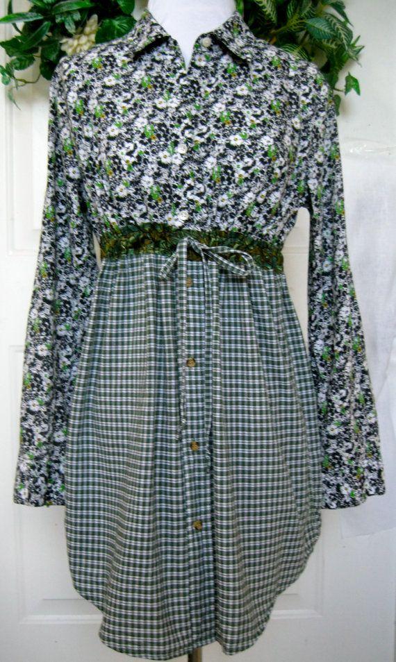 9a3ab651587b Reconstructed Men s Button Down ~ Woman s ~ Misses Shirt Dress Drawstring  Waist