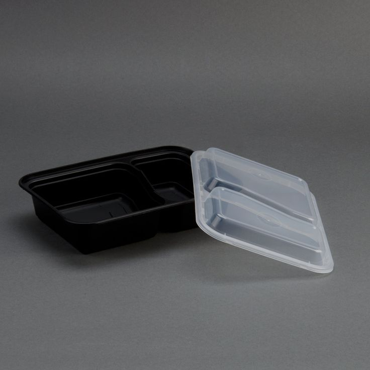 "Newspring NC-8288-B Black 30 oz. VERSAtainer 2 Compartment 8 1/2"" x 6"" x 1 7/8"" Rectangular Microwavable Container with Lid 150/Case"
