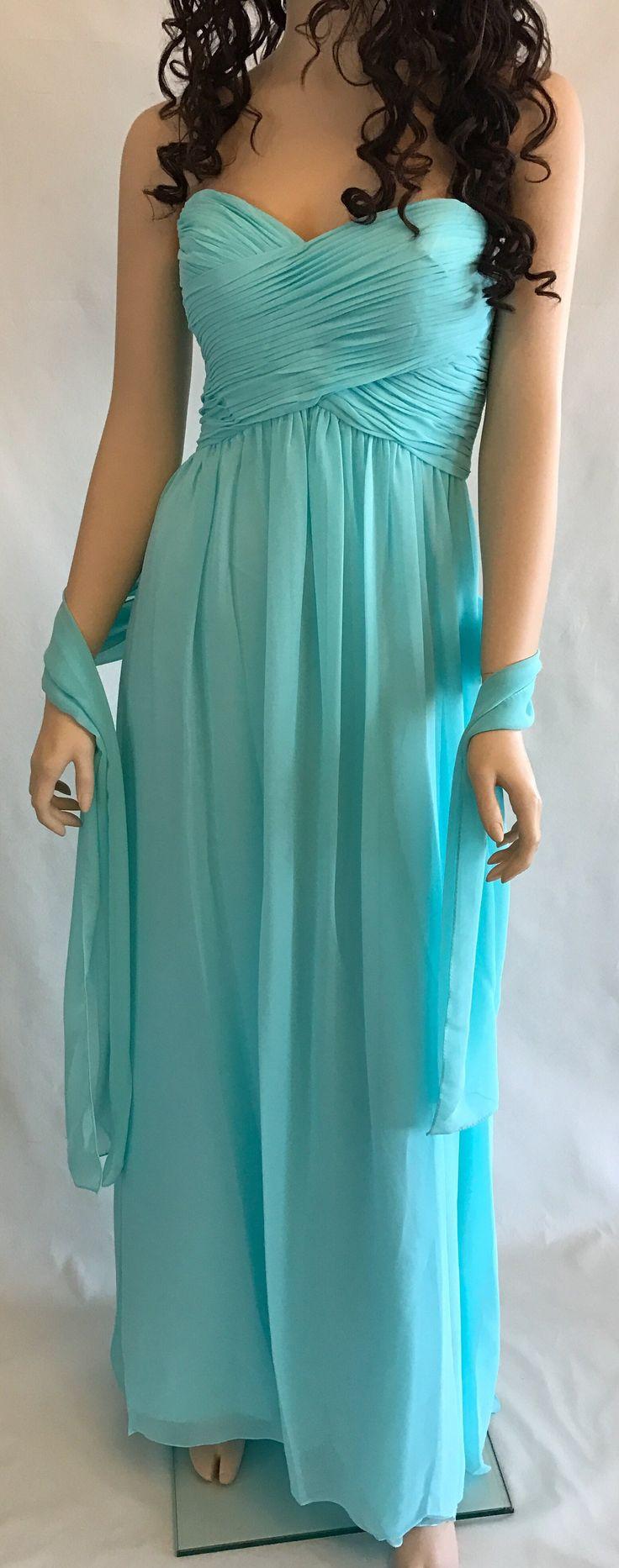FIRST COMES LOVE CHIFFON STRAPLESS MAXI DRESS - AQUA BLUE