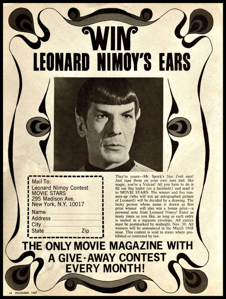 Movie Stars magazine, December 1967 — Win Leonard Nimoy's Ears! (Star Trek, 1966-69, NBC)