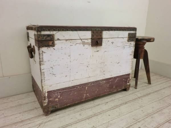 Trunk 古い木製のアンティークトランクN26船作業台収納弾薬箱 インテリア 雑貨 家具 Antique ¥1000yen 〆05月29日