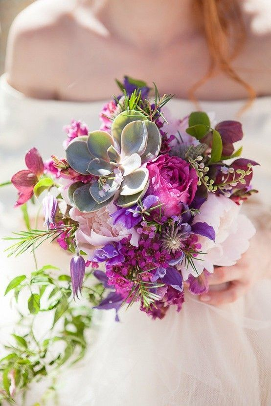wedding arrangements with purple and dusty rose flowers | purple fuschia succulent roses wedding bouquet country feel #roses # ...