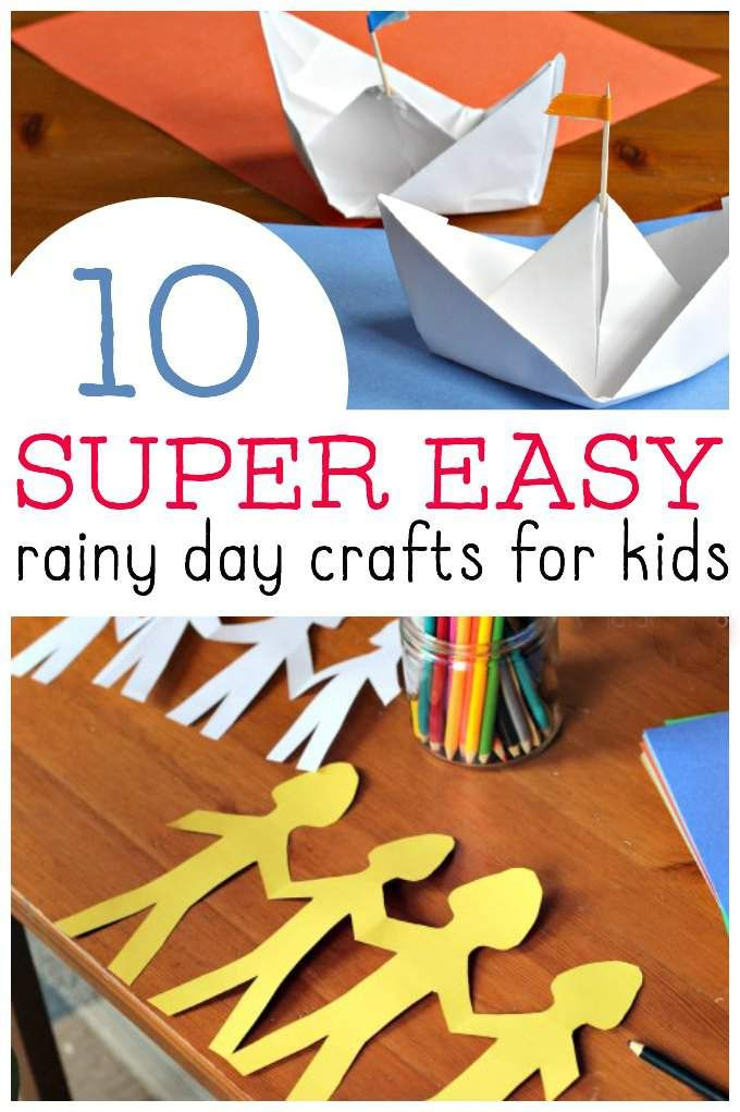 Easy ideas for kids crafts when they are stuck inside on a rainy day. Love these rainy day crafts and they really are simple to do!