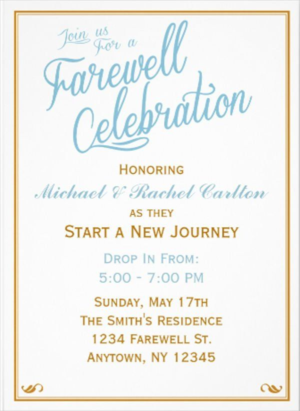 Formal Invitation Card In 2019 Going Away Party