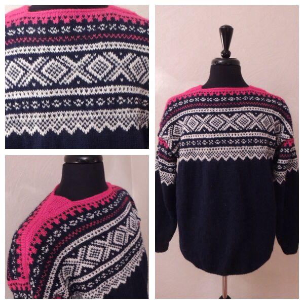 Marius sweater knitted in Peer Gynt yarn. 100% Norwegian wool. Size XL.