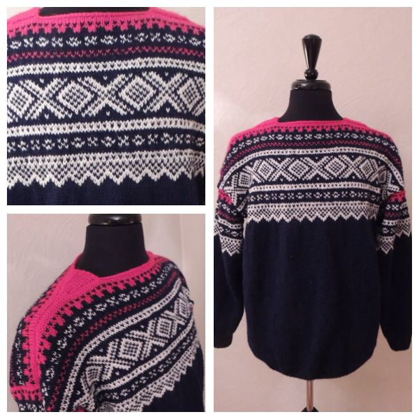 Marius sweater knitted in Peer Gynt yarn. 100% Norwegian wool. Size XL.