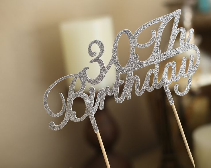 30th Birthday Cake Toppers,  Personalized Cake topper, Silver Cake Toppers, Birthday Glitter Cake Toppers, Anniversary Cake Toppers by MySweetBlossom on Etsy