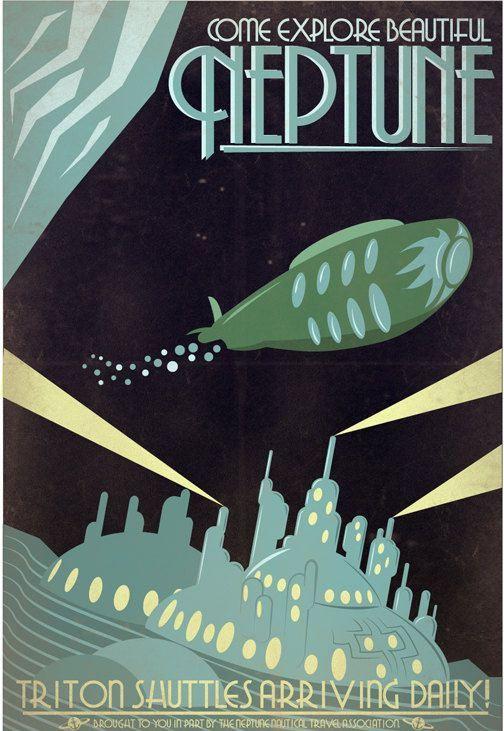 Retro Sci-fi Neptune Travel Poster - 8x10 Print | Flickr - Photo Sharing!