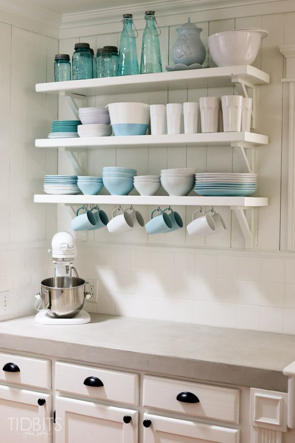 Kitchen organization with shelves