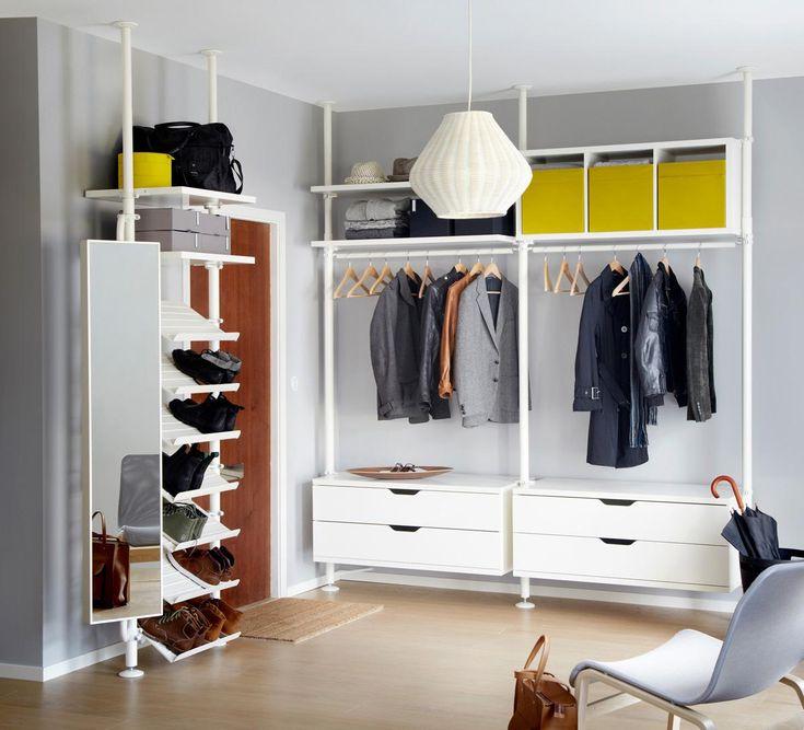 begehbarer kleiderschrank innenausstattung und schiebet ren system stolmen von ikea graue. Black Bedroom Furniture Sets. Home Design Ideas