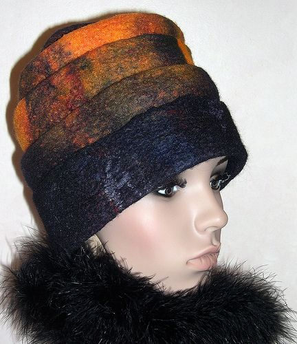 Orange Felt Hat by Suzanne Higgs: