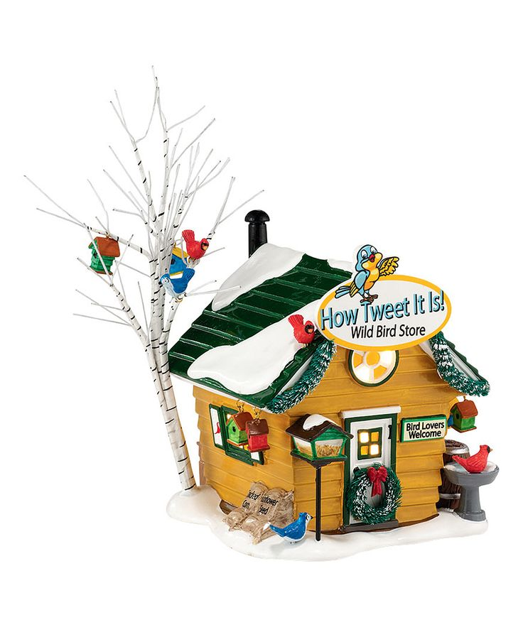Snow Village Tweet! Wild Bird Store Light-Up Décor