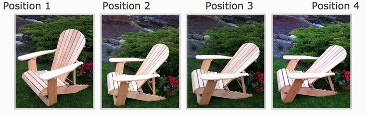 This show all the position you can enjoy in our Adjustable Folding Recliner Adirondack Chairs.