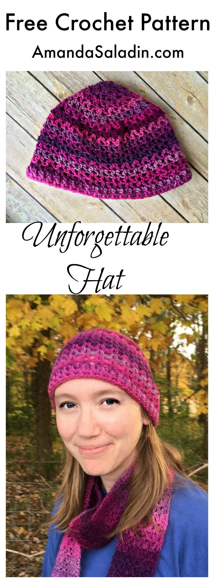 Here it is! The long-awaited free crochet hat pattern to match the popular Unforgettable One-Skein Scarf from Designing Crochet by Amanda Saladin.