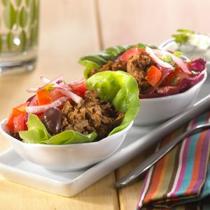MorningStar Farms® – Greek Style Lettuce Tacos Filled with Crumbles Recipe