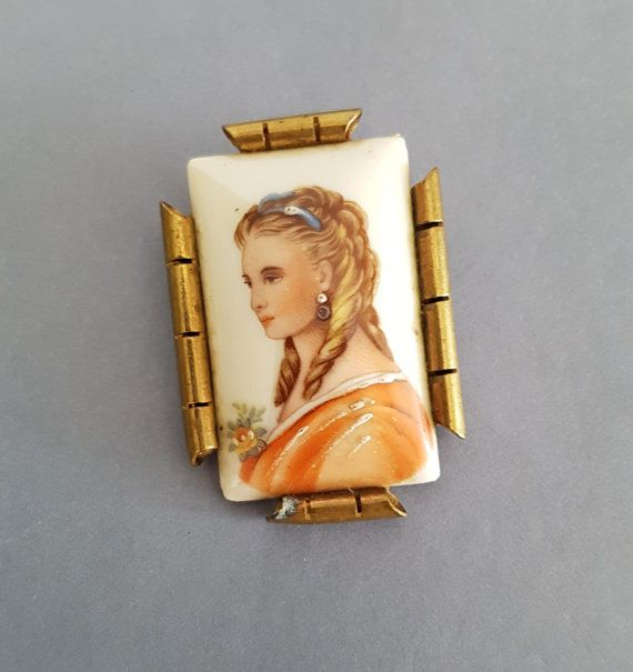 Vintage Limoges brooch. Young lady by anordicrose on Etsy