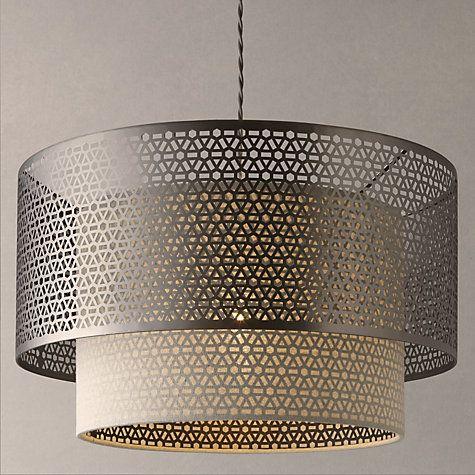 Meena Fretwork Steel Pendant Light with linen shade. Dia. 40.5cm; H 25cm. Drop adjustable 40-90cm £100