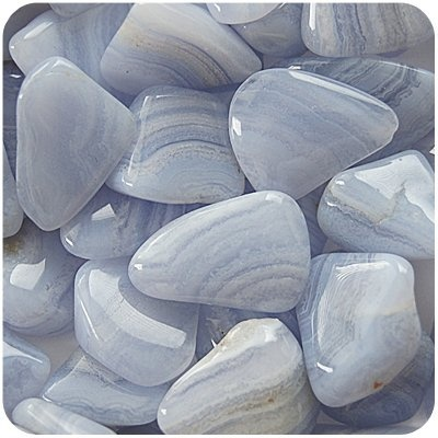 Blue Lace Agate - Calming and uplifting, strengthens the throat chakra, Wear or carry blue lace agate for peace and happiness. Place it in your hand when you feel the need to de-stress. If you find yourself in stressful situations gaze at it for relief.  #doninorris ~ I use this one alot too.