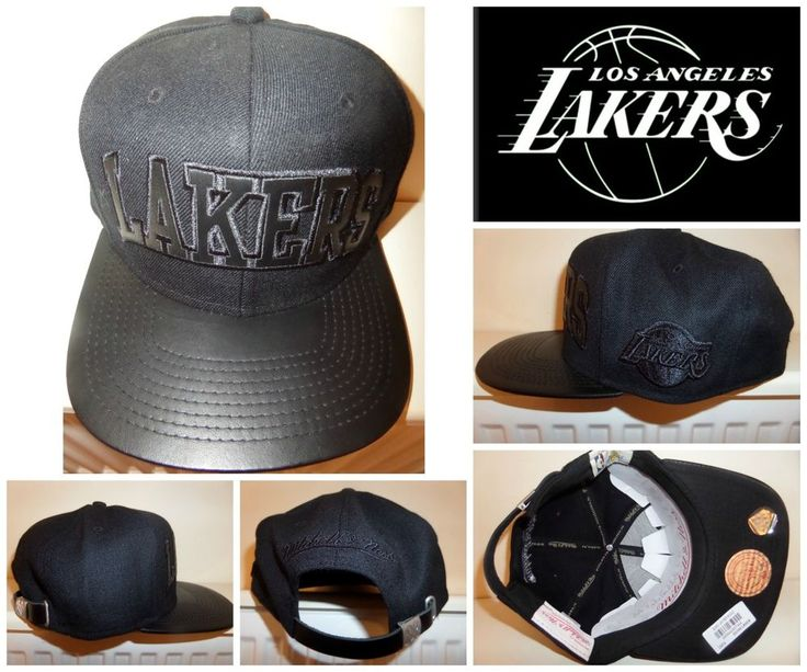 GENUINE MITCHELL & NESS LA LAKERS CAP HAT ALL BLACK BASKETBALL LEATHER BRIM NBA #MitchellNess #BaseballCap