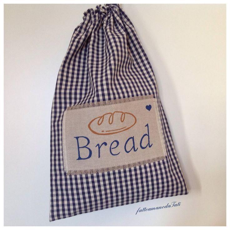 Sacchetto per il pane in cotone a quadretti blu, by fattoamanodaTati, 19,00€ su misshobby.com