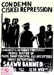 SAHA - South African History Archive - Condemn Ciskei repression. SAAWU banned.