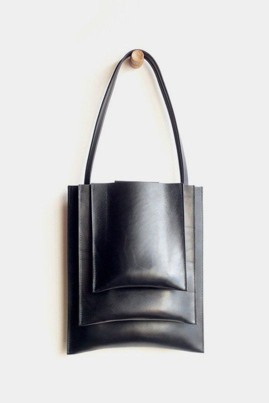 Graphic minimalist bag with stacked compartments // Sara Barner