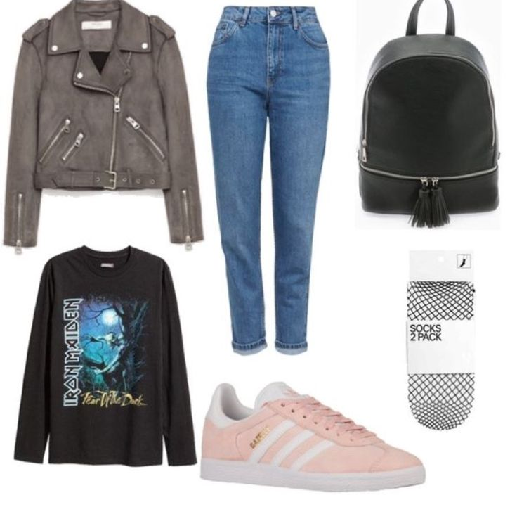 Outfit made of the biggest trends of the season! Styling: Asia Bisiniek. Do you like it? #Zara #hm #adidas #backpacker #leatherjacket #ironmaiden #socks #highwaist #jeans #pants #outfit #clotify
