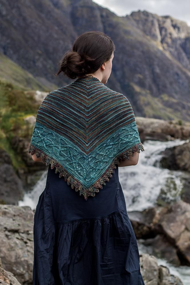 Celtic shawl knitting patterns, designed by Anna Hague: available to download at LoveKnitting!