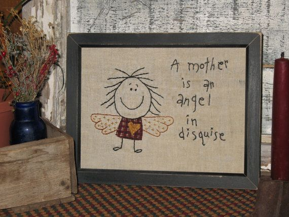 Mother's Day Humorous Primitive Stitchery by MockaMooseMarket, $12.00