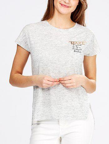 Maglietta screziata taglio a grezzo gioiello sul petto                                                                                                                                              grigio screziato chiaro Donna