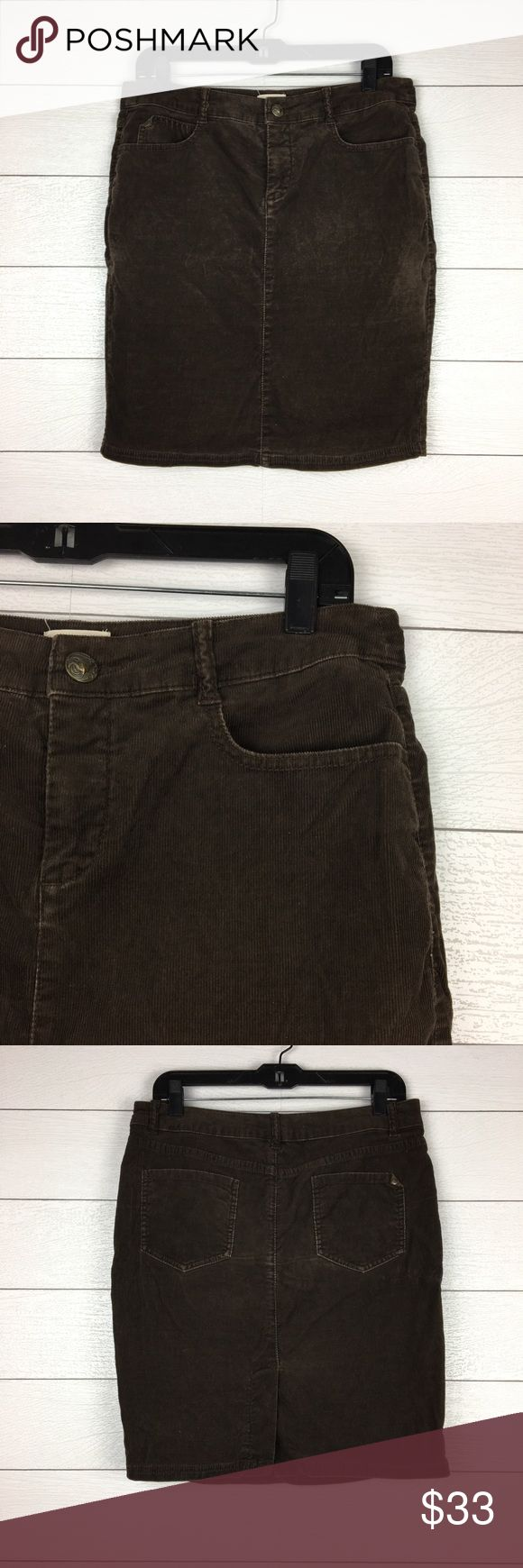 Idra Anthropologie Brown Corduroy Pencil Skirt 98% cotton, 2% spandex.  Idra from Anthropologie.  Chocolate brown corduroy fabric.  Button and zipper closure.  Front and back pockets.  Vent in the back.  Excellent pre-owned condition. Anthropologie Skirts Pencil