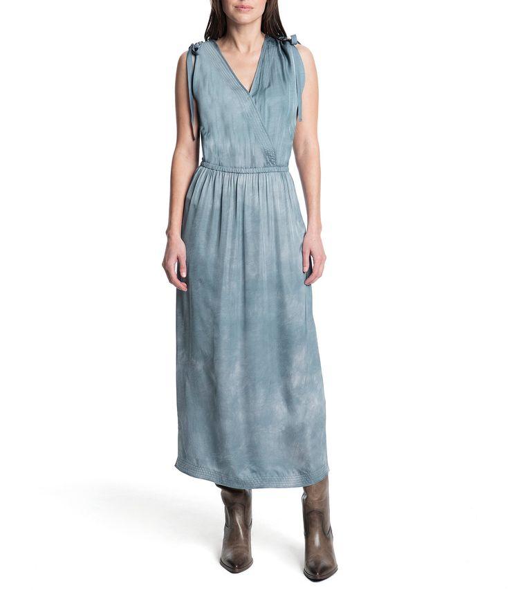 Parachute drawstring shoulder tiedye blouson maxi dress