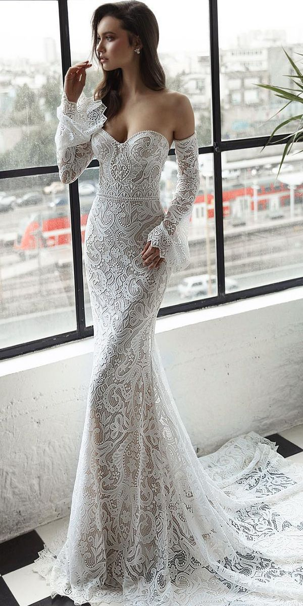 Top 27 Wedding Dresses For Celebration ❤ top wedding dresses sheath strapless detached sleeves full lace julie vino ❤ See more: http://www.weddingforward.com/wedding-ideas-part-2/ #weddingforward #wedding #bride #bridalgown