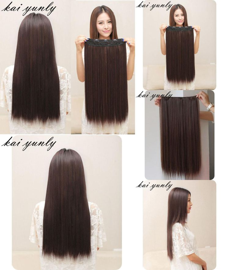 [Visit to Buy] 1PC Long Straight Womens Lady One Piece 5 Clips in Hair Wig Party Hairpiece Hair Extensions Styling Accessory Dark Brown Sep 5 #Advertisement