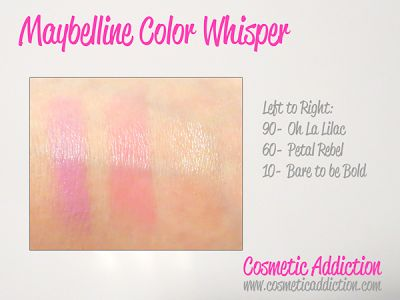 Cosmetic Addiction: Maybelline Color Whisper Lip Color: Swatched!  #maybelline #colorwhisper #lipcolor #swatches #cosmeticaddiction