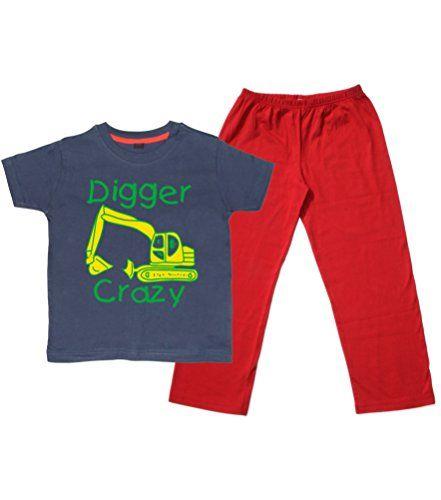 Children's Navy T-Shirt & Red Long Pants Pyjama Set 'DIGGER CRAZY (DESIGN 2)