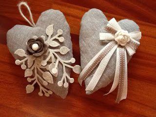 La Bottega del Riccio: Cuori di stoffa decorati