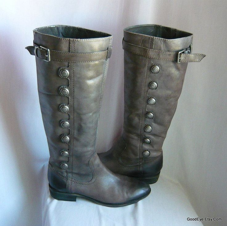 Vintage GRAY Leather Flat Knee Boots  / womens size 9 .5 m Eu 41 Uk 7 / Harness Buttons Zipper / Military Riding Boot Charcoal Fade by GoodEye on Etsy