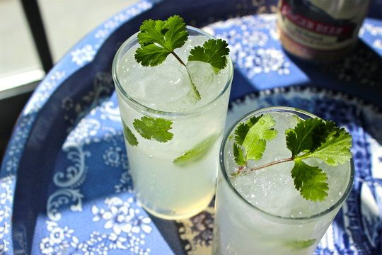 Cocktail gingembre, coriandre et noix de coco. | Recipe: Perfect Cocktail for an Asian Inspired MenuCoconut Ginger & Cilantro Cocktail