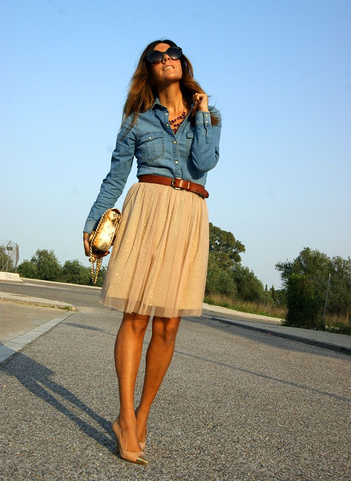 denim shirt + glitter skirt perfect for the PTA mom and business executive on here day off.