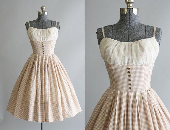 Abito vintage anni ' 50 / 50s cotone abito / Tan e bianco