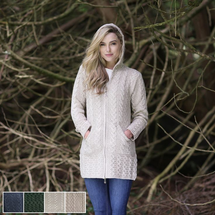 Ladies merino wool hooded aran coat now only from for Aran crafts fisherman sweater