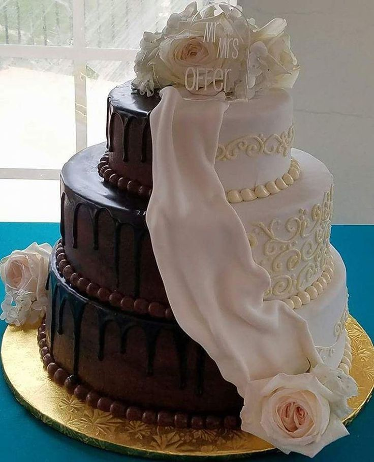 Dark Chocolate And White Make The Perfect Pair In This Wedding Cake By PLC
