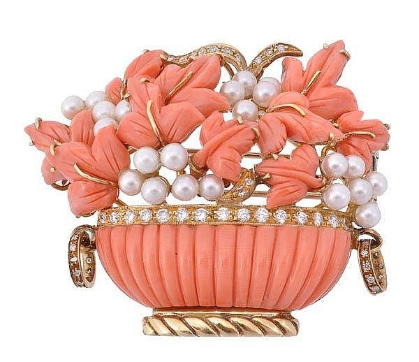 Coral and Pearl Jardinière Brooch with diamond accents.