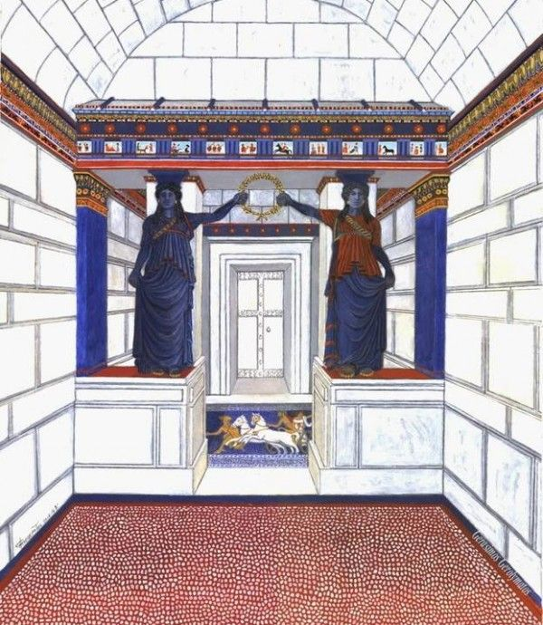 That's how the chamber with the Karyatides should look like. A new painted design made by the architect of the excavation, Mr. Gerolymatos. He has added some details never mentioned before.