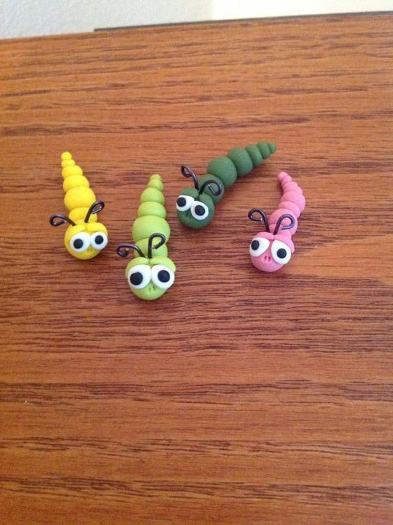 Miniature Garden Worms Polymer Clay by Whimsybydesign1 on Etsy, $3.75: