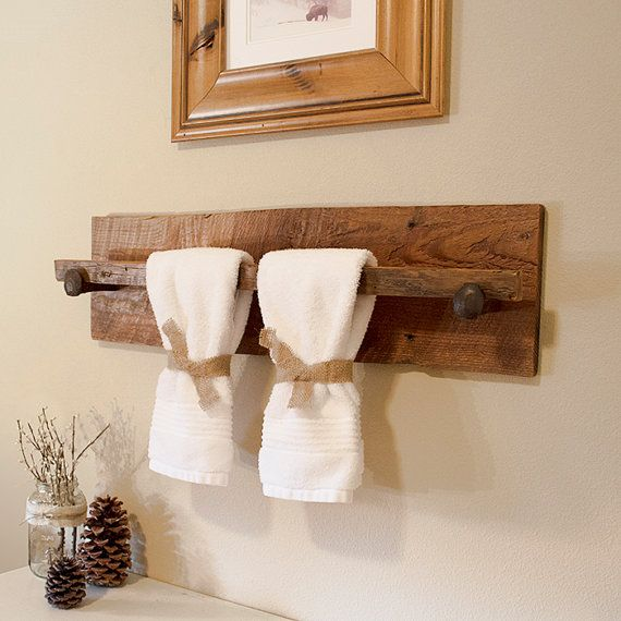 "Rustic Wood Towel Rack - Large, reclaimed towel hanger with railroad spikes, 30"" x 8"" barn wood towel bar"