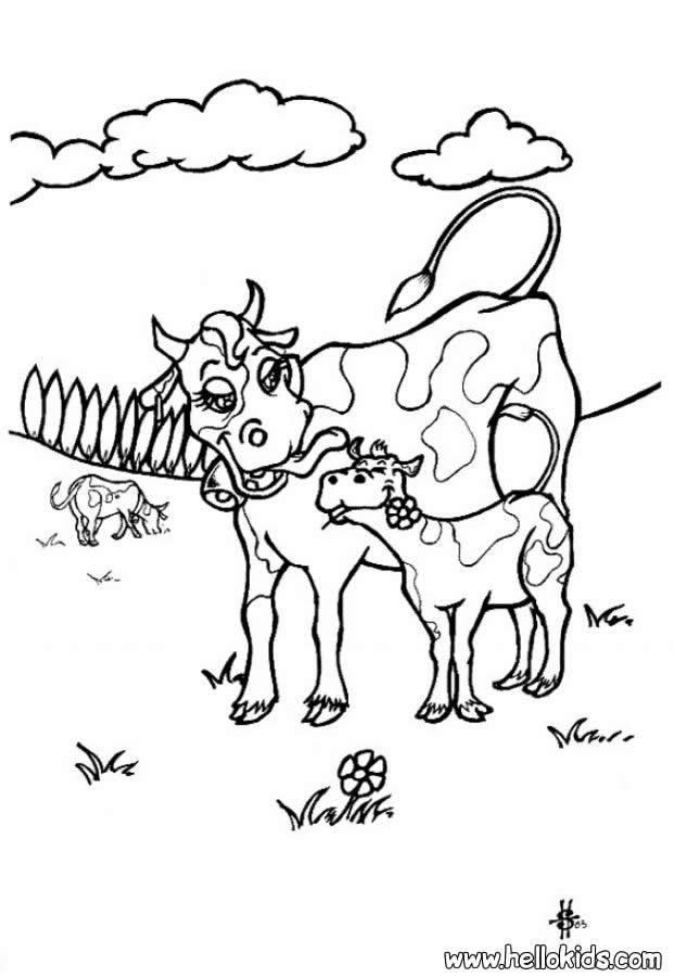 Let Your Imagination Soar And Color This Cow With Calf Coloring