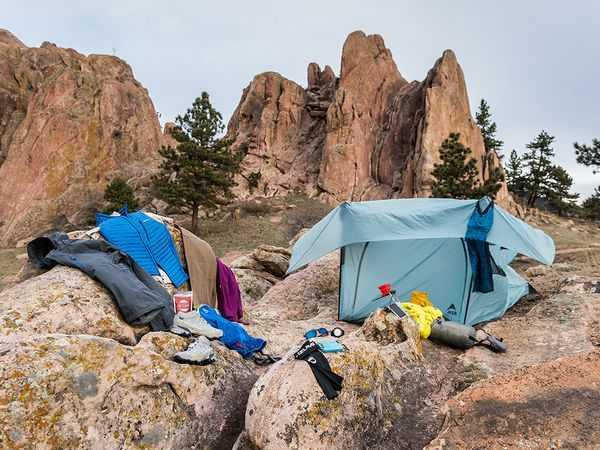 Picture of essential outdoor adventure gear for the weekend