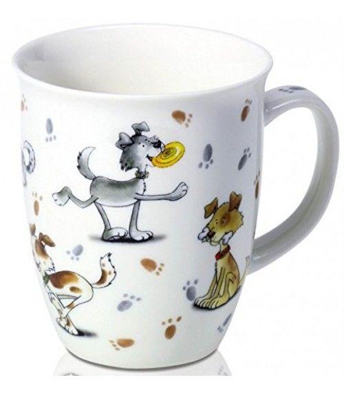 FUNNY DOGS MOK | Deze 'Grappige Honden' mok is vervaardigd uit Porselein. Dit wordt ook wel 'wit goud' genoemd. 'Wit goud' is ontstaan in China te midden van de 7e eeuw. Het is gemaakt van veldspaat, kwartszand en kaolien, en is ten minste tweemaal 'kiln-fired' bij temperaturen tot 1500 ° C.  Ontzettend leuke beker voor kinderen om thee uit te kunnen drinken. |
